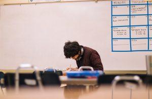 Man studying alone